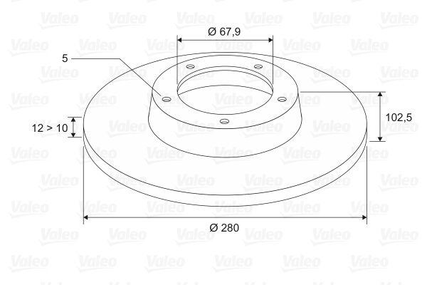 Купете 186713 VALEO задна ос, плътен Ø: 280мм, джанта: 5-дупки, дебелина на спирачния диск: 12мм Спирачен диск 186713 евтино