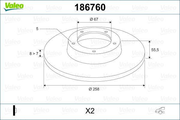 Pirkti 186760 VALEO galinė ašis, visiškai Ø: 258mm, žiedas: 5-anga, stabdžių disko storis: 8mm Stabdžių diskas 186760 nebrangu