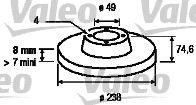 Pirkti 186768 VALEO galinė ašis, visiškai Ø: 238mm, žiedas: 4-anga, stabdžių disko storis: 8mm Stabdžių diskas 186768 nebrangu