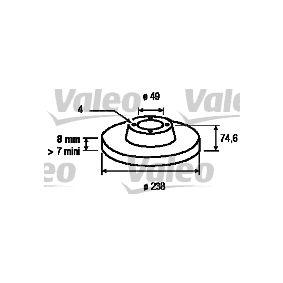 186768 VALEO Hinterachse, Voll Ø: 238mm, Felge: 4-loch, Bremsscheibendicke: 8mm Bremsscheibe 186768 günstig kaufen