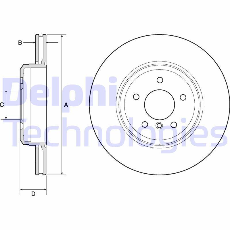 BG4753C DELPHI belüftet, beschichtet Ø: 345mm, Lochanzahl: 5, Bremsscheibendicke: 24mm Bremsscheibe BG4753C günstig kaufen