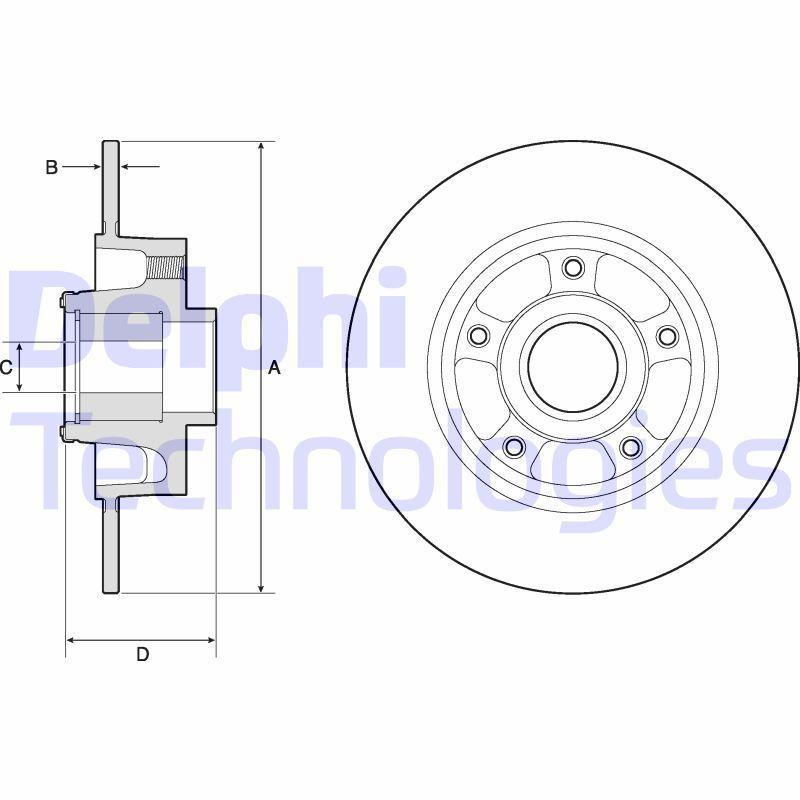 BG9137RS DELPHI Voll Ø: 260mm, Lochanzahl: 5, Bremsscheibendicke: 8mm Bremsscheibe BG9137RS günstig kaufen