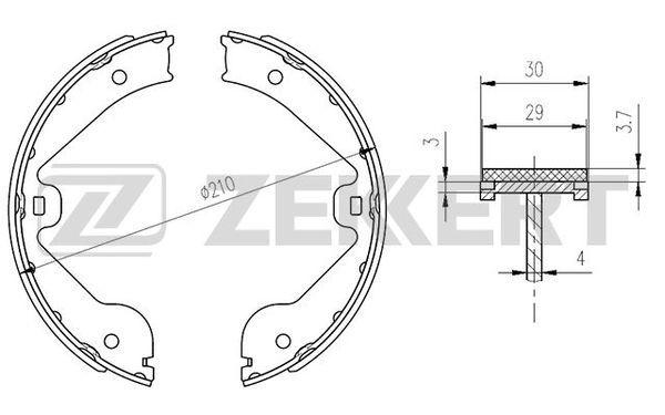 MERCEDES-BENZ ML-Klasse 2010 Bremsklötze für Trommelbremse - Original ZEKKERT BK-4164 Breite: 30mm