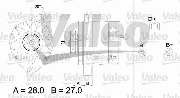 Pieces detachees RENAULT 15 1975 : Alternateur VALEO 433407 Nombre de gorges: 1 - Achetez tout de suite!