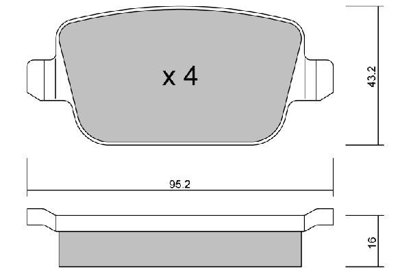 D1314 AISIN exkl. Verschleißwarnkontakt Breite: 95,2mm, Dicke/Stärke: 16mm Bremsbelagsatz, Scheibenbremse BPFO-2001 günstig kaufen