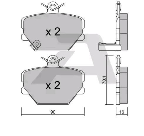 SMART CROSSBLADE 2002 Bremsbeläge - Original AISIN BPMB-1001 Breite: 90mm, Dicke/Stärke: 16mm