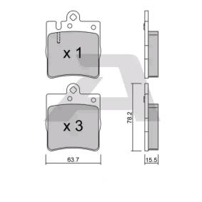 BPMB-2003 AISIN für Verschleißwarnanzeiger vorbereitet Höhe: 78,2mm, Breite: 63,7mm, Dicke/Stärke: 15,5mm Bremsbelagsatz, Scheibenbremse BPMB-2003 günstig kaufen