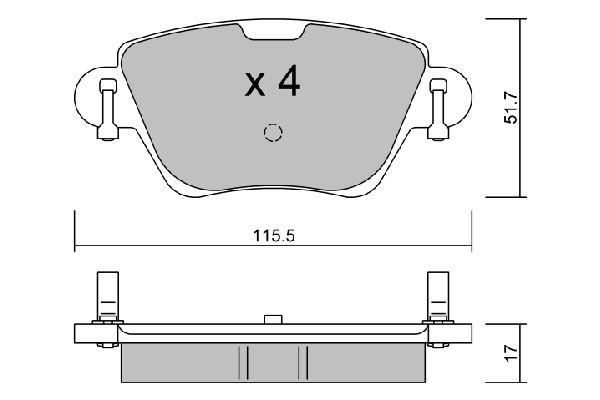 D0911 AISIN exkl. Verschleißwarnkontakt Breite: 115,5mm, Dicke/Stärke: 17mm Bremsbelagsatz, Scheibenbremse BPPE-2007 günstig kaufen