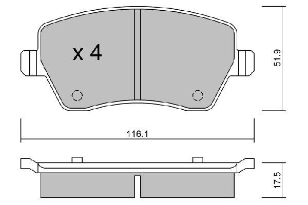 D1435 AISIN exkl. Verschleißwarnkontakt Breite: 116,1mm, Dicke/Stärke: 17,5mm Bremsbelagsatz, Scheibenbremse BPRE-1901 günstig kaufen