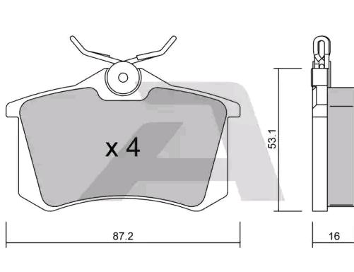 D0340 AISIN exkl. Verschleißwarnkontakt Breite: 87,2mm, Dicke/Stärke: 16mm Bremsbelagsatz, Scheibenbremse BPRE-2001 günstig kaufen
