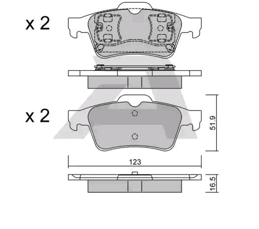D0973 AISIN exkl. Verschleißwarnkontakt Breite: 123mm, Dicke/Stärke: 16,5mm Bremsbelagsatz, Scheibenbremse BPRE-2003 günstig kaufen