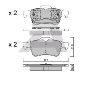 BPRE-2003 AISIN nicht für Verschleißwarnanzeiger vorbereitet Höhe: 51,9mm, Breite: 123mm, Dicke/Stärke: 16,5mm Bremsbelagsatz, Scheibenbremse BPRE-2003 günstig kaufen