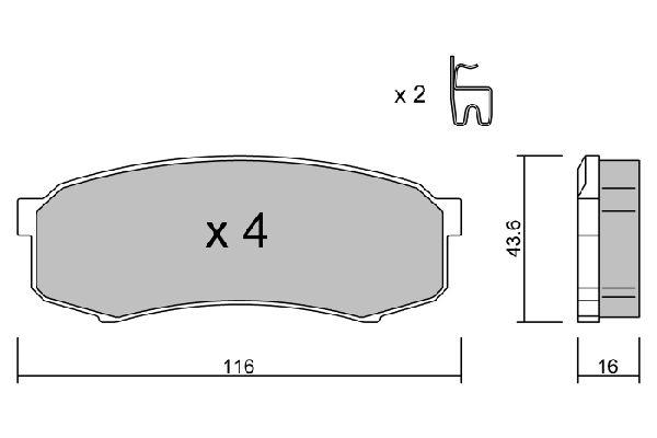 LEXUS LX 2014 Bremsbelagsatz - Original AISIN BPTO-2902 Höhe: 43,6mm, Breite: 116mm, Dicke/Stärke: 16mm
