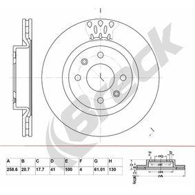 BR 304 VA100 BRECK belüftet, beschichtet, ohne Lager Ø: 258,600mm, Lochanzahl: 4, Bremsscheibendicke: 20,70mm Bremsscheibe BR 304 VA100 günstig kaufen