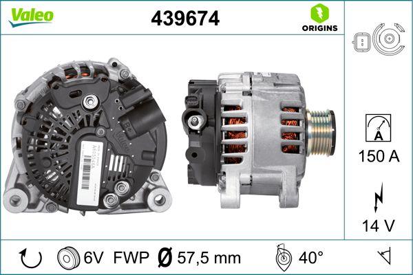 VALEO: Original Drehstromgenerator 439674 (Rippenanzahl: 6)