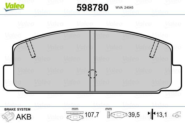 MAZDA RX-7 1996 Tuning - Original VALEO 598780 Höhe: 39,4mm, Breite: 107,7mm, Dicke/Stärke: 13,1mm
