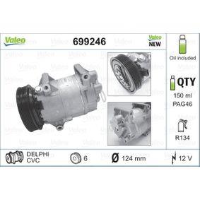 699246 VALEO NEW ORIGINAL PART PAG 46, Kältemittel: R 134a, mit PAG-Kompressoröl Riemenscheiben-Ø: 125mm Kompressor, Klimaanlage 699246 günstig kaufen