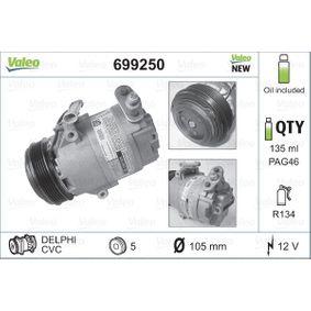 699250 VALEO NEW ORIGINAL PART PAG 46, Kältemittel: R 134a, mit PAG-Kompressoröl Riemenscheiben-Ø: 105mm Kompressor, Klimaanlage 699250 günstig kaufen