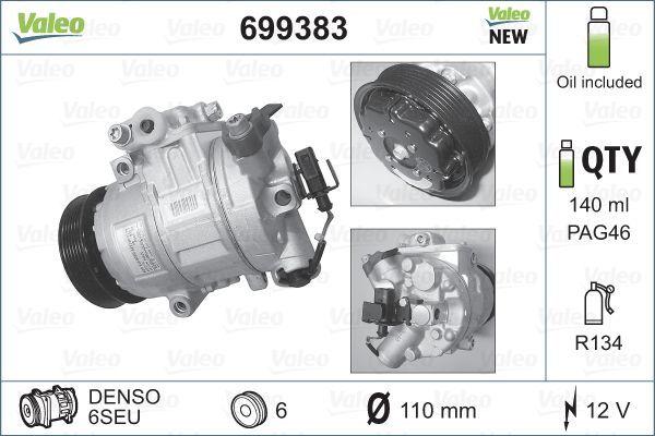Kompressor Klimaanlage Polo 9n 2009 - VALEO 699383 (Riemenscheiben-Ø: 110mm, Anzahl der Rillen: 6)