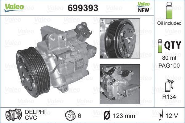 VALEO: Original Klimakompressor 699393 (Riemenscheiben-Ø: 123mm, Anzahl der Rillen: 6)