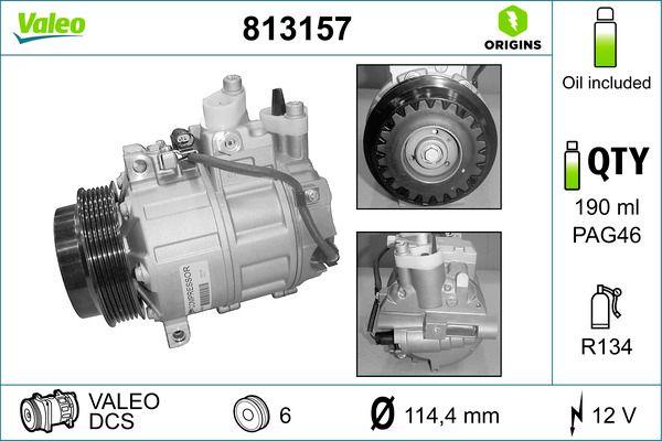 VALEO: Original Kompressor 813157 (Riemenscheiben-Ø: 114,4mm, Anzahl der Rillen: 6)