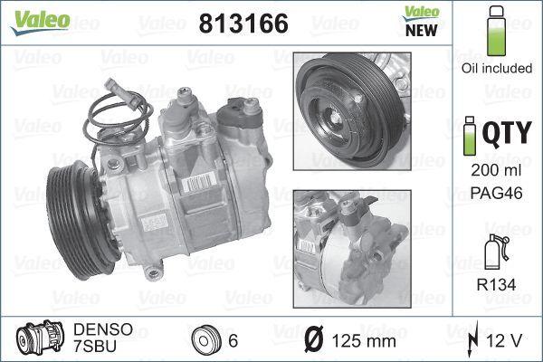 VALEO: Original Kompressor Klimaanlage 813166 (Riemenscheiben-Ø: 120mm, Anzahl der Rillen: 6)