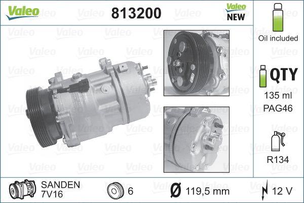 VALEO: Original Kompressor Klimaanlage 813200 (Riemenscheiben-Ø: 119,5mm, Anzahl der Rillen: 6)