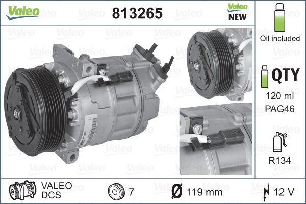 VALEO: Original Kompressor 813265 (Riemenscheiben-Ø: 119mm, Anzahl der Rillen: 7)