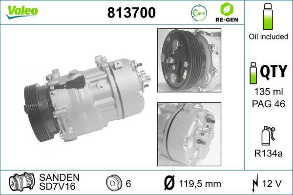 VALEO: Original Klimakompressor 813700 (Riemenscheiben-Ø: 119,5mm, Anzahl der Rillen: 6)
