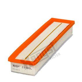 6351310000 HENGST FILTER Filtereinsatz Länge: 425,0mm, Breite: 95,0mm, Höhe: 60,0mm Luftfilter E1199L günstig kaufen