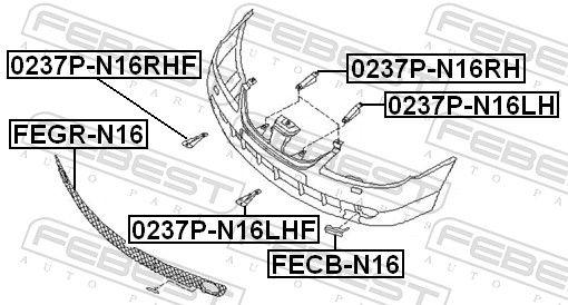 FECB-N16 Tampa, gancho de reboque FEBEST - Produtos de marca baratos
