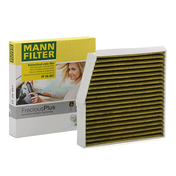 Comprare FP 26 007 MANN-FILTER con azione fungicida, con effetto antibatterico, Filtro al carbone attivo, Filtro carboni attivi con polifenolo, Filtro per polveri fini (PM 2.5), FreciousPlus Largh.: 254mm, Alt.: 43mm, Lunghezza: 240mm Filtro, Aria abitacolo FP 26 007 poco costoso