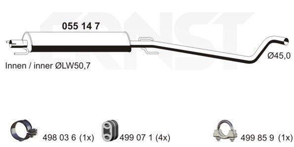 055147 ERNST Length: 1750mm Middle Silencer 055147 cheap
