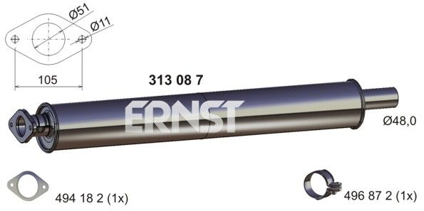 Original Främre ljuddämpare 313087 Ford