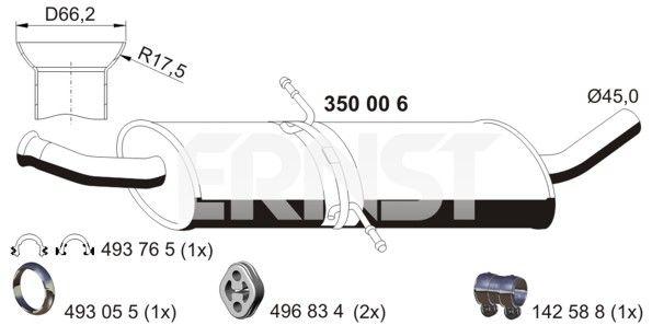 MERCEDES-BENZ A-Klasse 2007 Mittelschalldämpfer - Original ERNST 350006