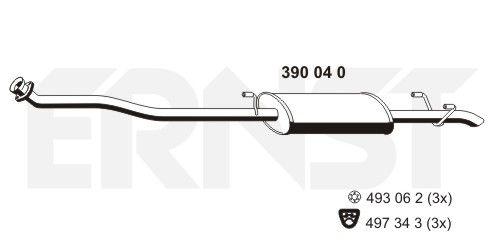 Original MERCEDES-BENZ Mittelschalldämpfer 390040