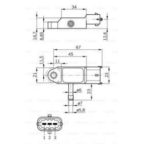 0281002593 Sensor, Ladedruck BOSCH 0 281 002 593 - Große Auswahl - stark reduziert