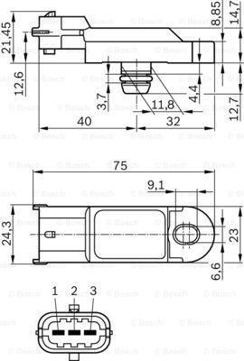 0 281 002 996 Jutiklis, kompresoriaus slėgis BOSCH originalios kokybiškos