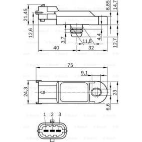 0 281 002 996 Capteur, pression de suralimentation BOSCH originales de qualité