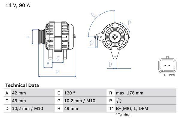 4891 BOSCH 14V, 90A Generator 0 986 048 911 günstig kaufen