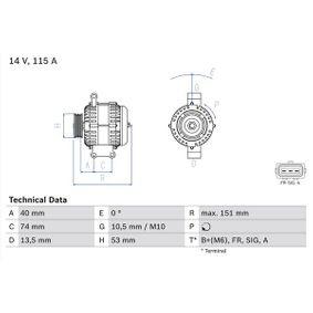4946 BOSCH 14V, 115A Generator 0 986 049 460 günstig kaufen