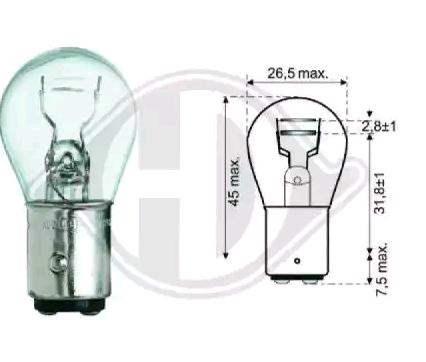 DIEDERICHS Żarówka, żwiatło STOP / lampa tylna P21/5W, 12V 21, 5W, Bay15d LID10050 HARLEY-DAVIDSON