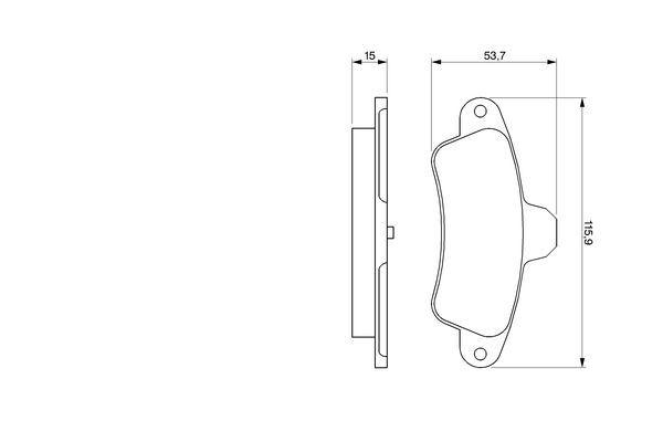 Bremsbelagsatz Ford Mondeo MK1 GBP hinten + vorne 1993 - BOSCH 0 986 424 277 (Höhe: 53,7mm, Breite: 115,9mm, Dicke/Stärke: 15,5mm)