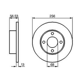 BD113 BOSCH Solid, oljad Ø: 256mm, Hålant.: 4, Bromsskivetjocklek: 12,9mm Bromsskiva 0 986 478 130 köp lågt pris