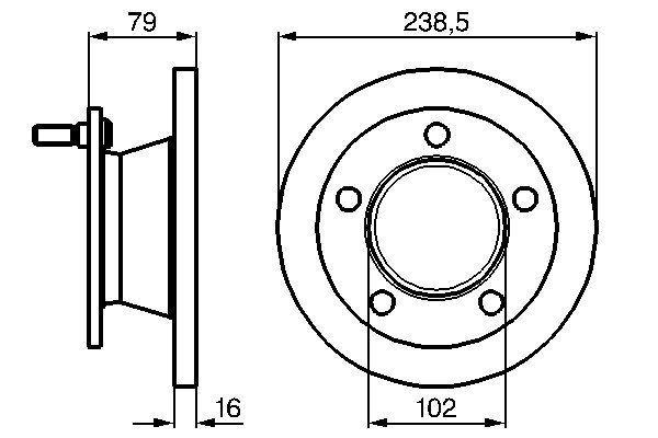 MERCEDES-BENZ MB 100 2017 Tuning - Original BOSCH 0 986 478 357 Ø: 238,3mm, Lochanzahl: 5, Bremsscheibendicke: 16mm