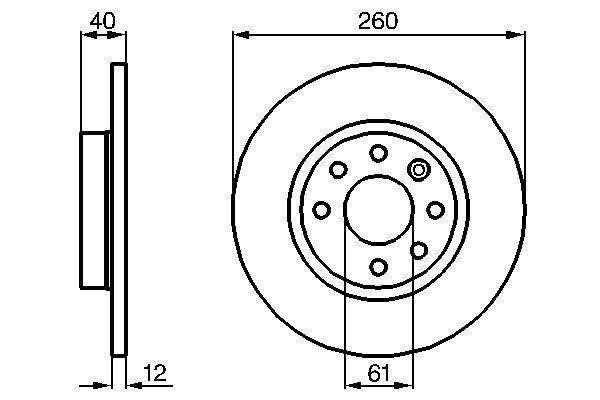 VOLVO 440 K 1994 Bremsscheiben - Original BOSCH 0 986 478 386 Ø: 260mm, Lochanzahl: 6, Bremsscheibendicke: 12mm