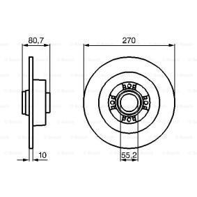 BD1066 BOSCH Voll, geölt, ohne Radlager, ohne integrierten magnetischen Sensorring Ø: 270mm, Lochanzahl: 4, Bremsscheibendicke: 10mm Bremsscheibe 0 986 479 196 günstig kaufen