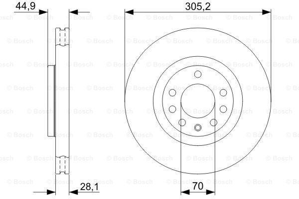 E190R02C03390252 BOSCH belüftet, geölt Ø: 305mm, Lochanzahl: 5, Bremsscheibendicke: 28mm Bremsscheibe 0 986 479 325 günstig kaufen