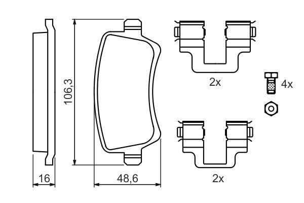 8422D1307 BOSCH mit Montageanleitung, mit Schrauben, mit Zubehör Höhe: 48,6mm, Breite: 106,3mm, Dicke/Stärke: 16,8mm Bremsbelagsatz, Scheibenbremse 0 986 494 175 günstig kaufen