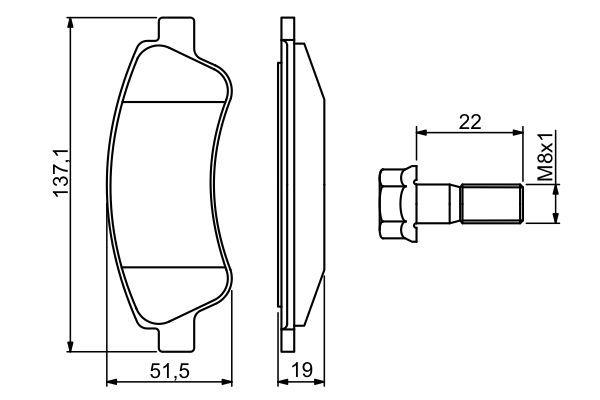 23599 BOSCH mit Montageanleitung, mit Schrauben Höhe: 51,5mm, Breite: 137,1mm, Dicke/Stärke: 19mm Bremsbelagsatz, Scheibenbremse 0 986 494 270 günstig kaufen